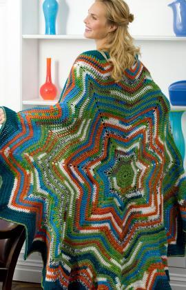Free Crochet Pattern For Star Afghan : 7-Point Star Throw AllFreeCrochetAfghanPatterns.com