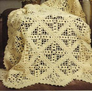 Bernat: Pattern Detail - Super Value - Lace and Cable Afghan (knit)