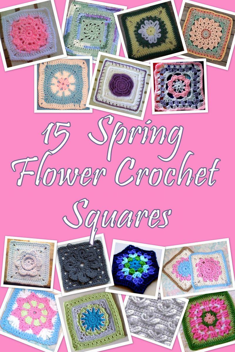15 Spring Flower Crochet Squares