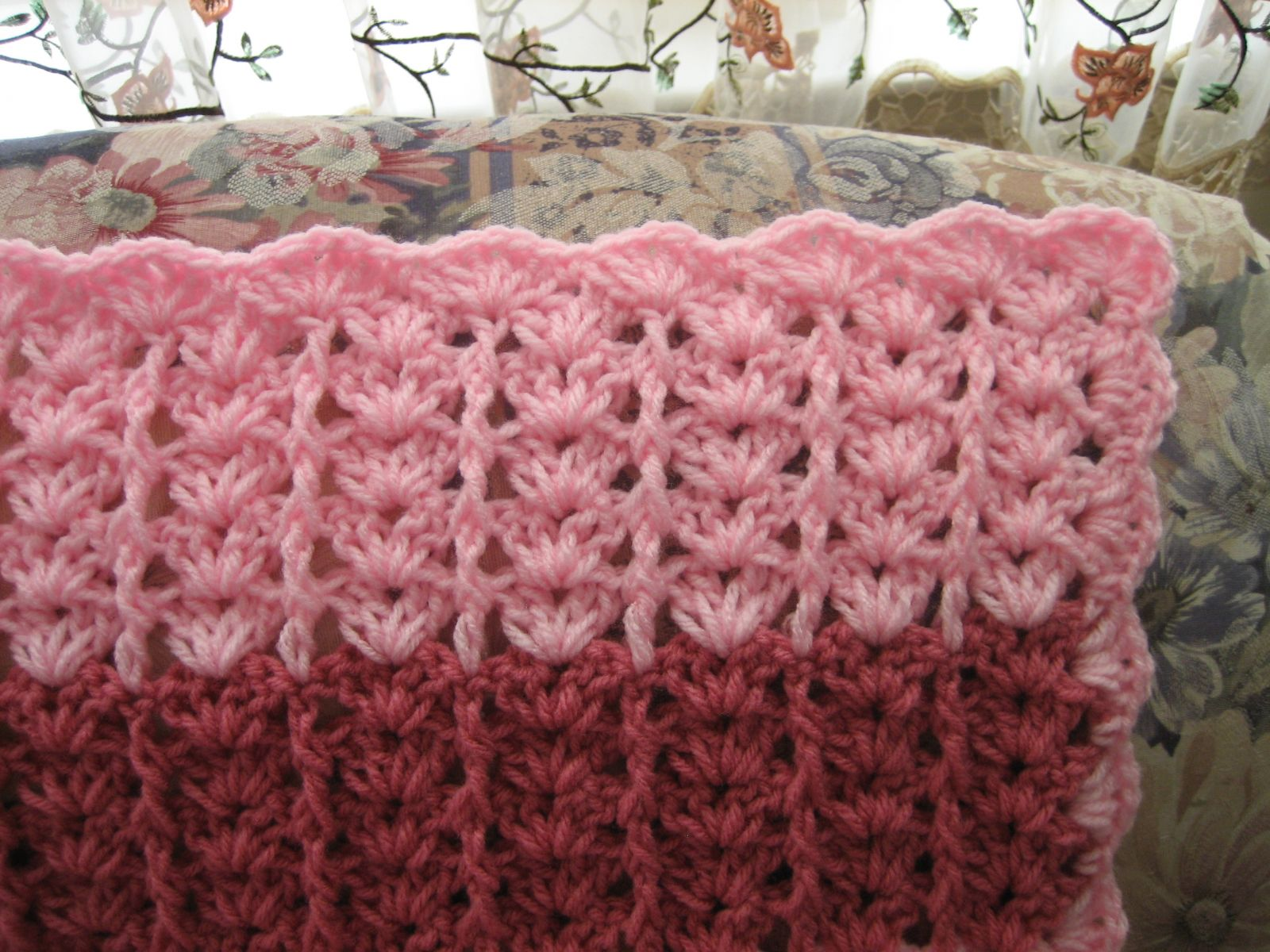 Double Crochet Ripple Baby Afghan Pattern : Lacy Shades of Pink Shells Afghan ...