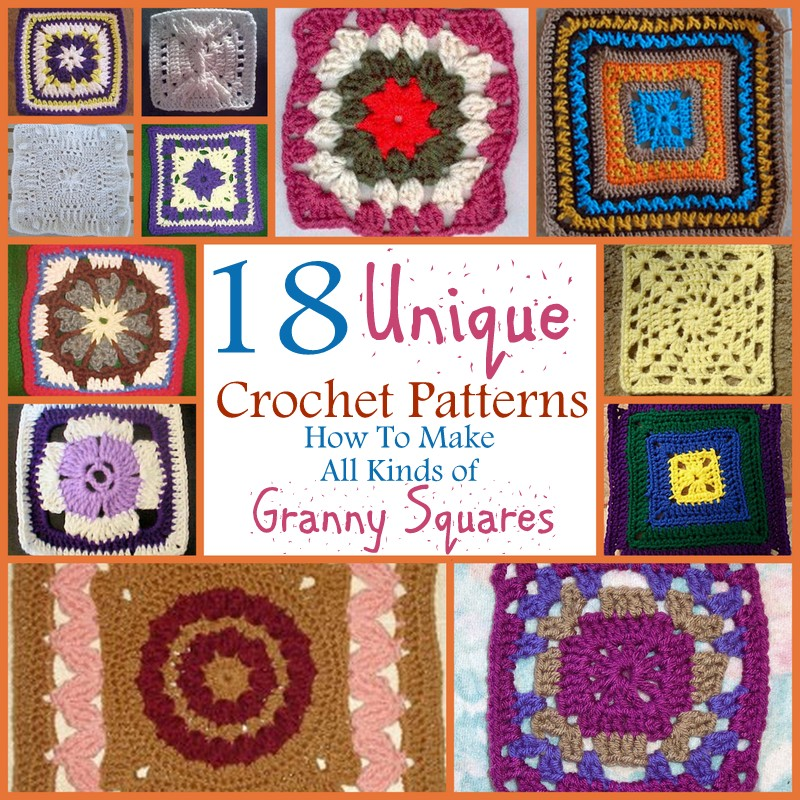 Unique Beginner Crochet Patterns : Updated & Unique: All Kinds of Crochet Squares - Stitch ...