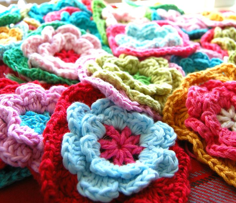 Granny Square Pattern Crochet Flower images
