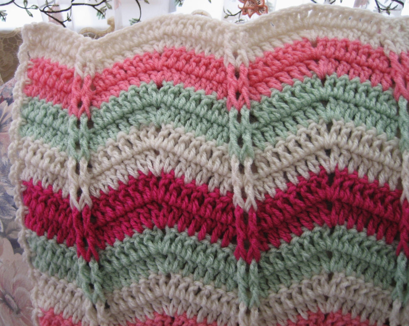 All Free Crochet Afghan Patterns : Watermelon Mojito Ripple Throw ...